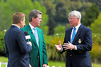 Augusta National Golf Club and Masters chairman Fred Ridley (centre) and R&A chief excutive Martin Slumbers (right) on day one of the 2017 Asia-Pacific Amateur Championship day one at Royal Wellington Golf Club in Wellington, New Zealand on Thursday, 26 October 2017. Photo: Dave Lintott / lintottphoto.co.nz