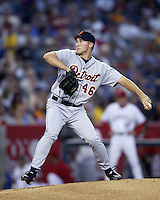 Mike Maroth of the Detroit Tigers pitches during a 2002 MLB season game against the Los Angeles Angels at Angel Stadium, in Anaheim, California. (Larry Goren/Four Seam Images)
