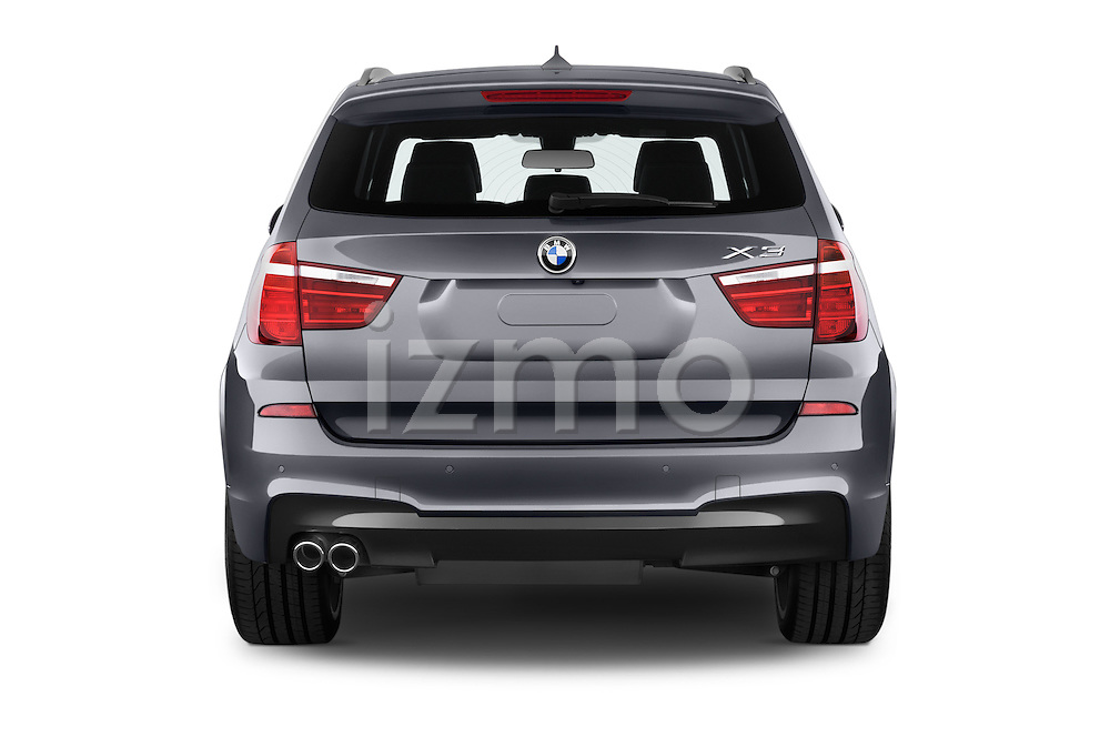 Straight rear view of 2016 BMW X3 xDrive28d 5 Door SUV Rear View  stock images
