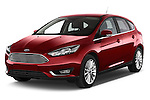 2015 Ford Focus Titanium 5 Door Hatchback Angular Front stock photos of front three quarter view