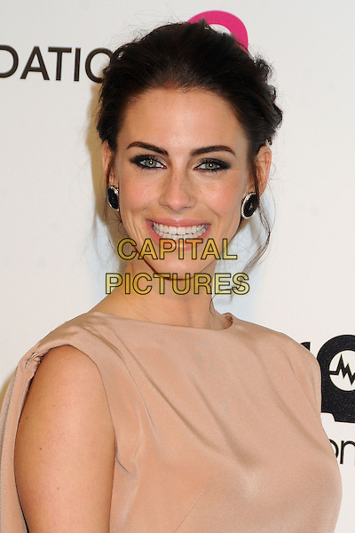Jessica Lowndes.21st Annual Elton John Academy Awards Viewing Party held at West Hollywood Park, West Hollywood, California, USA..February 24th, 2013.oscars headshot portrait beige sheer sleeveless smiling .CAP/ADM/BP.©Byron Purvis/AdMedia/Capital Pictures.