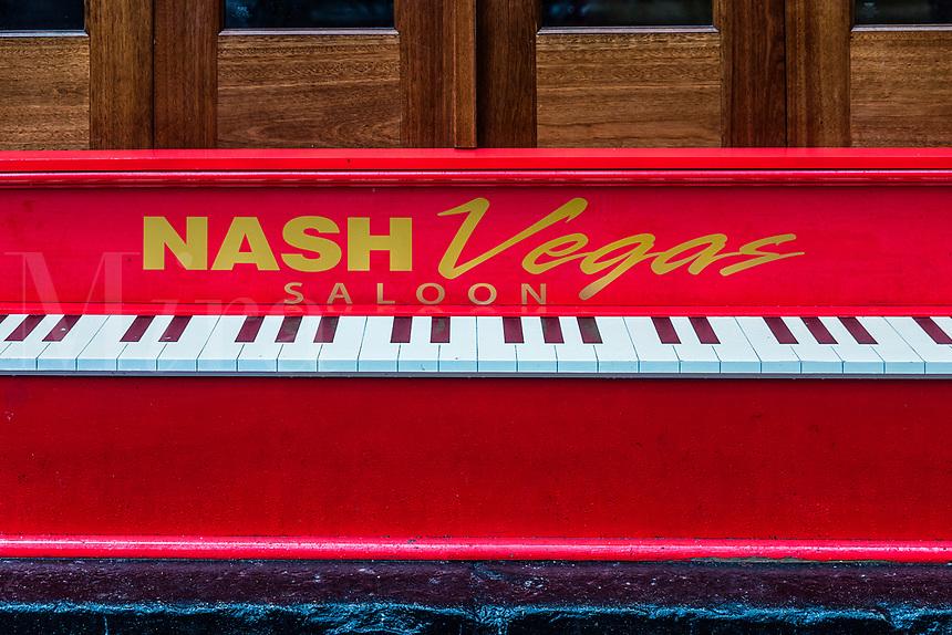 NashVegas Saloon piano sign, Nashville, Tennessee, USA.
