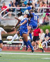 Sky Blue FC forward Danesha Adams (9), Boston Breakers midfielder Mariah Nogueira (20) and Boston Breakers midfielder Maddy Evans (18) compete for a head ball.  In a National Women's Soccer League Elite (NWSL) match, Sky Blue FC defeated the Boston Breakers, 3-2, at Dilboy Stadium on June 16, 2013