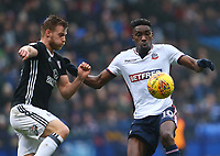 Bolton Wanderers' Sammy Ameobi  battles for the ball against TomaS Kalas of Fulham<br /> <br /> Photographer Leila Coker/CameraSport<br /> <br /> The EFL Sky Bet Championship - Bolton Wanderers v Fulham - Saturday 10th February 2018 - Macron Stadium - Bolton<br /> <br /> World Copyright &copy; 2018 CameraSport. All rights reserved. 43 Linden Ave. Countesthorpe. Leicester. England. LE8 5PG - Tel: +44 (0) 116 277 4147 - admin@camerasport.com - www.camerasport.com