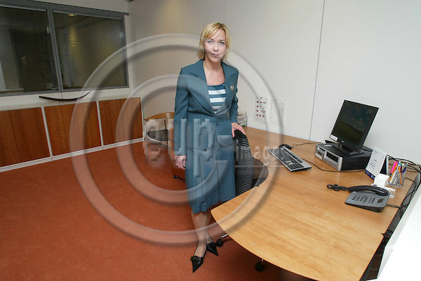 BRUSSELS - BELGIUM  -29 SEPTEMBER 2004--HTS, Danish Chamber of Commerce, opening of new Brussels Office--Anne Marie DAMGAARD, head of the Brussels office of HTS in her office.--PHOTO: ERIK LUNTANG / EUP-IMAGES..