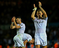 Leeds United's Jack Harrison and Leeds United's Kalvin Phillips applaud the fans<br /> <br /> Photographer Alex Dodd/CameraSport<br /> <br /> The Carabao Cup Second Round- Leeds United v Stoke City - Tuesday 27th August 2019  - Elland Road - Leeds<br />  <br /> World Copyright © 2019 CameraSport. All rights reserved. 43 Linden Ave. Countesthorpe. Leicester. England. LE8 5PG - Tel: +44 (0) 116 277 4147 - admin@camerasport.com - www.camerasport.com