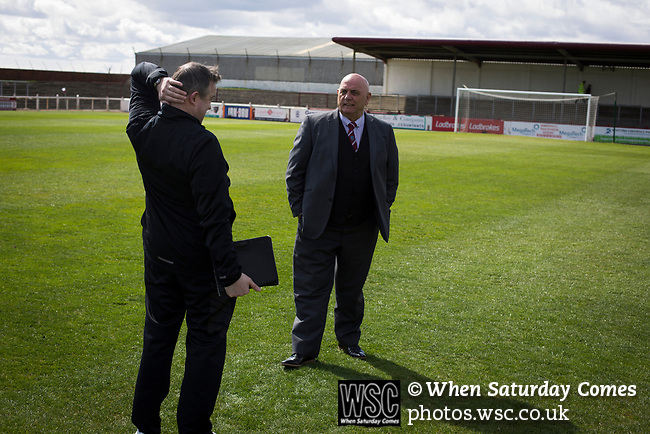 Arbroath 0 Edinburgh City 1, 15/03/2017. Gayfield Park, SPFL League 2. Opposing managers Gary Jardine (left) and Dick Campbell chatting on the pitch at Gayfield Park before Arbroath hosted Edinburgh City in an SPFL League 2 fixture. The newly-promoted side from the Capital were looking to secure their place in SPFL League 2 after promotion from the Lowland League the previous season. They won the match 1-0 with an injury time goal watched by 775 spectators to keep them 4 points clear of bottom spot with three further games to play. Photo by Colin McPherson.