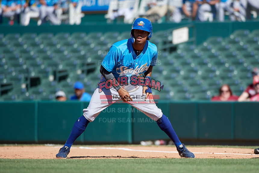 Amarillo Sod Poodles Buddy Reed (5) leads off first base during a Texas League game against the Frisco RoughRiders on May 19, 2019 at Dr. Pepper Ballpark in Frisco, Texas.  Amarillo defeated Frisco 10-5.  (Mike Augustin/Four Seam Images)