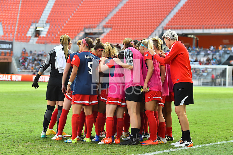 Houston, TX - Sunday Oct. 09, 2016: Washington Spirit huddle during the National Women's Soccer League (NWSL) Championship match between the Washington Spirit and the Western New York Flash at BBVA Compass Stadium.