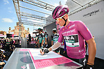 Maglia Ciclamino German Champion Pascal Ackermann (GER) Bora-Hansgrohe at sign on before Stage 11 of the 2019 Giro d'Italia, running 221km from Carpi to Novi Ligure, Italy. 22nd May 2019<br /> Picture: Massimo Paolone/LaPresse | Cyclefile<br /> <br /> All photos usage must carry mandatory copyright credit (© Cyclefile | Massimo Paolone/LaPresse)