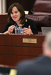 Nevada Assemblywoman Amber Joiner, D-Reno, works in committee at the Legislative Building in Carson City, Nev., on Monday, Feb. 9, 2015. <br /> Photo by Cathleen Allison