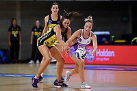 Pulse' Ameliaranne Ekenasio and Stars' Mila Reuelu-Buchanan in action during the ANZ Premiership - Pulse v Stars at Te Rauparaha Arena, Porirua, New Zealand on Wednesday 3 April 2019. <br /> Photo by Masanori Udagawa. <br /> www.photowellington.photoshelter.com