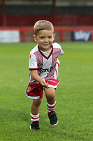 A young Stevenage mascot enjoys the matchday experience prior to kick-off during Stevenage vs Norwich City, Friendly Match Football at the Lamex Stadium on 11th July 2017