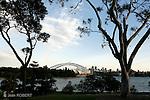 Sydney.Vu  de  Sydney depuis un ferry dans la baie.Centre de  Sydney vu depuis le jardin botanique