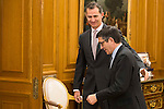 King Felipe VI of Spain received in audience to the president of the Congress of Deputies , Patxi Lopez at Zarzuela Palace in Madrid. March 07, 2016. (ALTERPHOTOS/BorjaB.Hojas)
