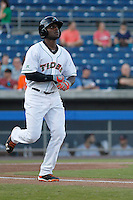 Norfolk Tides outfielder Xavier Avery (13) at bat during a game against the Louisville Bats at Harbor Park on April 26, 2016 in Norfolk, Virginia. Louisville defeated defeated Norfolk 7-2. (Robert Gurganus/Four Seam Images)