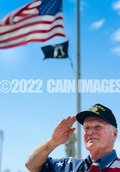 Dan Detweiler of Dublin, Pennsylvania salutes as TAPS is played during the Quakertown Memorial Day Parade Monday May 25, 2015 in Quakertown, Pennsylvania. (Photo by William Thomas Cain/Cain Images)