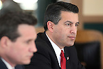 Nevada Gov. Brian Sandoval, right, and Secretary of State Ross Miller work in the Board of Examiners meeting at the Capitol in Carson City, Nev. on Tuesday, March 1, 2011..Photo by Cathleen Allison