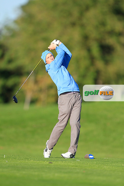 Peter Martin (Colin Park Golf Acadamy) on the 13th tee during Round 1 of The Cassidy Golf 103rd Irish PGA Championship in Roganstown Golf Club on Thursday 10th October 2013.<br /> Picture:  Thos Caffrey / www.golffile.ie