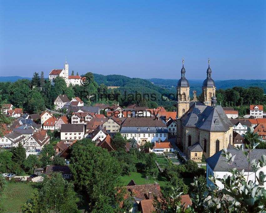 Deutschland, Bayern, Franken, Fraenkische Schweiz, Goessweinstein mit Burg und Wallfahrtsbasilika   Germany, Bavaria, Franconia, Goessweinstein: with Castle and Basilica
