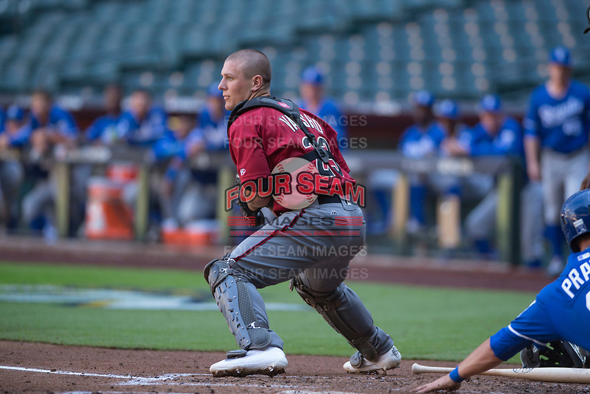 Arizona Diamondbacks catcher Daulton Varsho (23) during an Instructional League game against the Kansas City Royals at Chase Field on October 14, 2017 in Phoenix, Arizona. (Zachary Lucy/Four Seam Images)