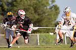 Palos Verdes, CA 03/30/10 - David Lee (Peninsula #29) and Ryan Brothers (Palos Verdes #8) in action during the Palos Verdes-Peninsula JV Boys Lacrosse game.