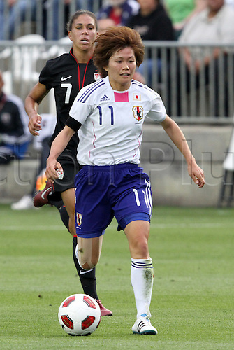 18.05.2011 Nahomi Kawasumi (11) (JPN) and Shannon Boxx (7) (USA). The United States Women's National Team defeated the Japan Women's National Team 2-0 at WakeMed Stadium in Cary, North Carolina as part of preparations for the 2011 Women's World Cup.