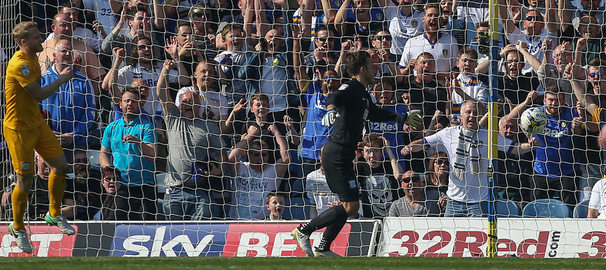 Preston North End's Chris Maxwell fails to stop Leeds United's Kemar Roofe's shot going in<br /> <br /> Photographer Alex Dodd/CameraSport<br /> <br /> The EFL Sky Bet Championship - Leeds United v Preston North End - Saturday 8th April 2017 - Elland Road - Leeds<br /> <br /> World Copyright &copy; 2017 CameraSport. All rights reserved. 43 Linden Ave. Countesthorpe. Leicester. England. LE8 5PG - Tel: +44 (0) 116 277 4147 - admin@camerasport.com - www.camerasport.com