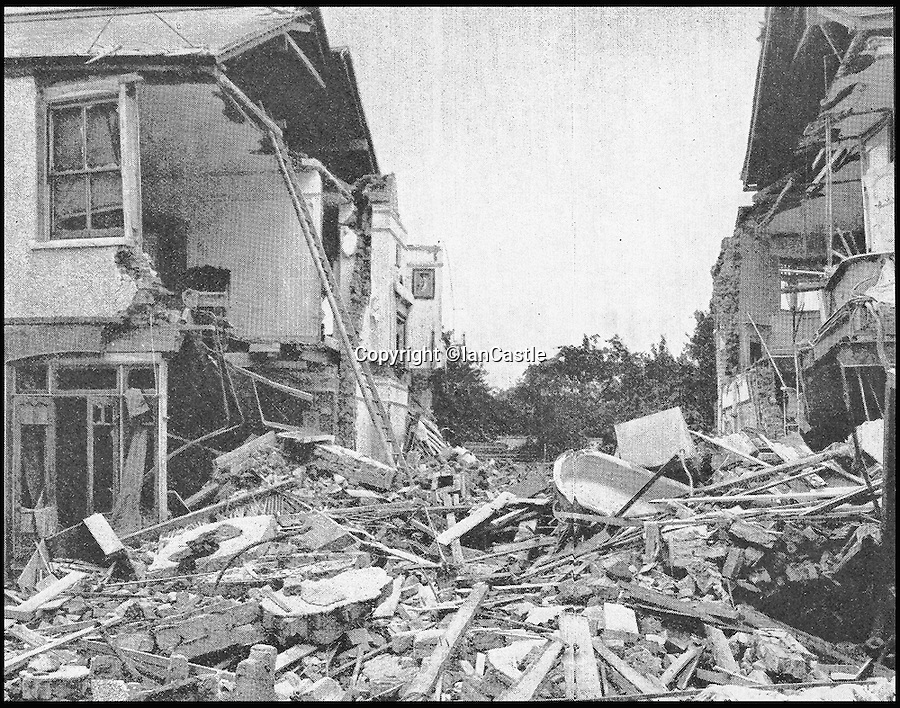 BNPS.co.uk (01202 558833)<br /> Pic: IanCastle/BNPS<br /> <br /> Zeppelin bomb damage in Baytree Road Brixon, home of an 8-year-old Max Wall.<br /> <br /> The sheer devastation wreaked on Britain by German air raids in the 'forgotten' first Blitz of World War One has been revealed 100 years on.<br /> <br /> The terrifying aerial attacks marked a frightening new era of warfare as Germany demonstrated the brutal force of their technologically advanced airships to catastrophic success.<br /> <br /> For three years the Zeppelins came and went as they pleased - and their destructive bombing missions have now been plotted for the first time ever in a new book marking their centenary.<br /> <br /> Military historian Ian Castle's incredible maps form part of his book The First Blitz: Bombing London in the First World War, which remembers the first time the capital came under attack from the skies a century ago.