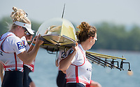 Caversham, Nr Reading, Berkshire.<br /> <br /> Left Zoe LEE and Karen BENNETT, carry the boat. Olympic Rowing Team Announcement morning training before the Press conference at the RRM. Henley.<br /> <br /> Thursday  DATE}<br /> <br /> [Mandatory Credit: Peter SPURRIER/Intersport Images]