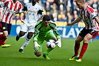 Saturday 19 October 2013 Pictured: <br /> Re: Keiren Westwood of Sunderland makes a save early in the first half Barclays Premier League Swansea City vSunderland at the Liberty Stadium, Swansea, Wales