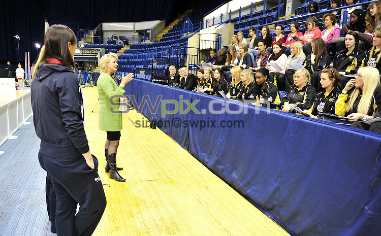 PICTURE BY VAUGHN RIDLEY/SWPIX.COM - Netball - Superleague Grand Final - Bath v Mavericks - Trent FM Arena, Nottingham, England - 15/05/10...Copyright - Simon Wilkinson - 07811267706...Rachel Dunn, Sara Bayman, Lisa O'Sullivan and Sue Hawkins speak to National Talent League players.