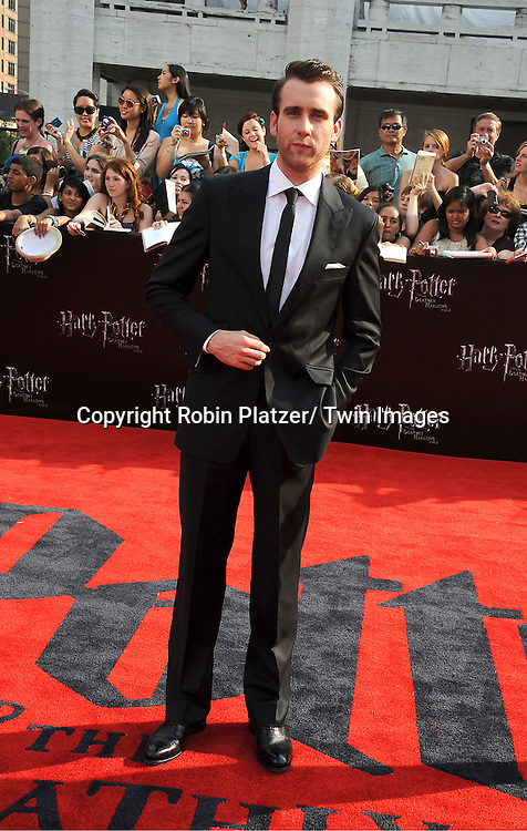 """actor Matthew Lewis arriving to the"""" Harry Potter and the Deathly Hallows- Part 2""""  North American Premiere on July 11, 2011 at Avery Fisher Hall in Lincoln Center in New York City."""