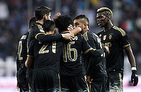 Calcio, Serie A: Frosinone vs Juventus. Frosinone, stadio Comunale, 7 febbraio 2016.<br /> Juventus&rsquo; Juan Cuadrado, third from right, celebrates with teammates after scoring during the Italian Serie A football match between Frosinone and Juventus at Frosinone's Comunale stadium, 7 January 2016.<br /> UPDATE IMAGES PRESS/Isabella Bonotto