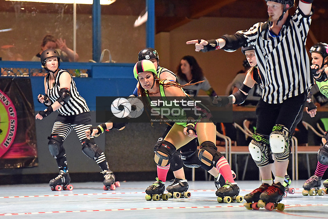NELSON, NEW ZEALAND - OCTOBER 8: Roller Derby Sirens v Hellmilton Roller Ghouls, Nelson Skate Rink, Nelson, New Zealand, Saturday 8 October (Photo by: Barry Whitnall Shuttersport Limited)