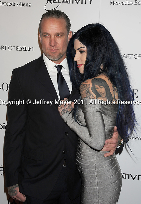 "LOS ANGELES, CA - January 15: Kat Von D (R) and Jesse James arrive at Art Of Elysium's 4th Annual ""Heaven"" Charity Gala at California Science Center's Wallis Annenberg Building on January 15, 2011 in Los Angeles, California."