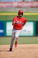 Philadelphia Phillies Luke Miller (30) runs the bases during a Florida Instructional League game against the Toronto Blue Jays on September 24, 2018 at Spectrum Field in Clearwater, Florida.  (Mike Janes/Four Seam Images)