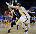 SIOUX FALLS, SD: MARCH 5: Maria Martianez #44 of Oral Roberts drives on Ellie Thompson #45 of South Dakota State during the Summit League Basketball Championship on March 5, 2017 at the Denny Sanford Premier Center in Sioux Falls, SD. (Photo by Dick Carlson/Inertia)