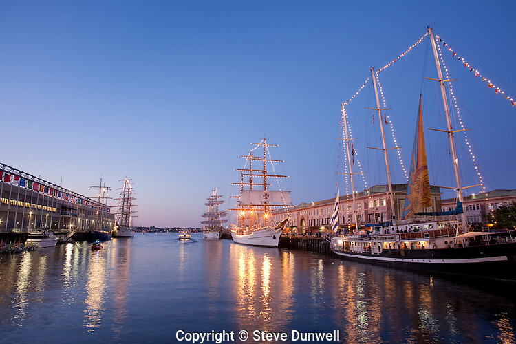 Libertad, Mircea , Sagres, Capitan Miranda, Tall Ships,evening, Boston Harbor, Boston, MA,