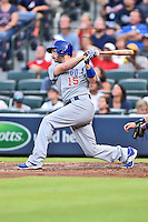 Chicago Cubs left fielder Chris Denorfia (15) swings at a pitch during a game against the Atlanta Braves on July 18, 2015 in Atlanta, Georgia. The Cubs defeated the Braves 4-0. (Tony Farlow/Four Seam Images)