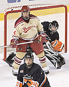 Tom May, Eric Leroux, Max Cousins - The Princeton University Tigers defeated the University of Denver Pioneers 4-1 in their opening game of the Denver Cup on Friday, December 30, 2005 at Magness Arena in Denver, Colorado.