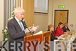 Minister Jimmy Dennihan address the crowd at the official opening of the LIstowel Family Resource Centre last Monday afternoon watced on by Minister Frances Fitzgerald and Jackie Landers.