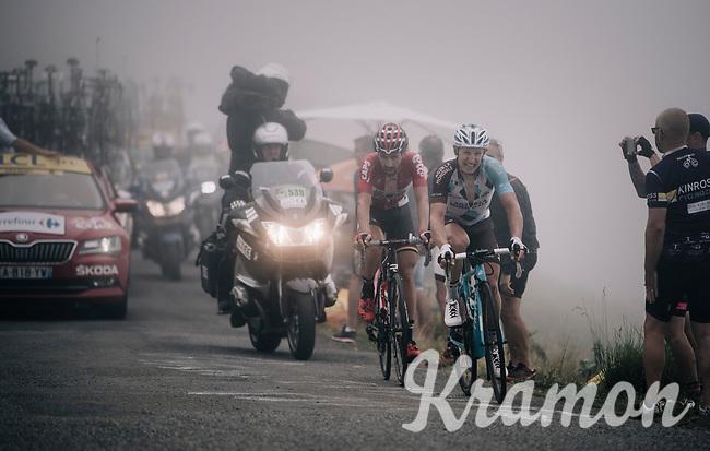 Thomas de Gendt (BEL/Lotto-Soudal) &amp; Cyril Gautier (FRA/AG2R-La Mondiale) up the Port de Bal&egrave;s (HC/1755m/11.7km/7.7%)<br /> <br /> 104th Tour de France 2017<br /> Stage 12 - Pau &rsaquo; Peyragudes (214km)