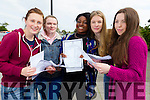 Students from Mercy Mounthawk Secondary School, Tralee, who received their Junior Certificate results on Wednesday morning were l-r: Shannon Hanbidge, Lorraine Kelly, Yemisi Osinubi, Rhiannon O'Connor and Tamara Foley