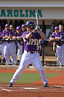 James Madison University outfielder Colby Roberts #3 at bat during a game against the Boston College Eagles at Watson Stadium at Vrooman Field on February 18, 2012 in Conway, SC.  Boston College defeated James Madison 8-5.  (Robert Gurganus/Four Seam Images)