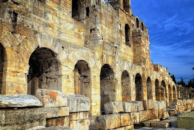 Entrance to the Odeon of Herodes Atticus theatre on the Acropoilis in Athens, Greece