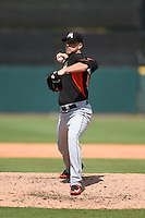 Miami Marlins pitcher Nick Masset (46) during a Spring Training game against the Detroit Tigers on March 25, 2015 at Joker Marchant Stadium in Lakeland, Florida.  Detroit defeated Miami 8-4.  (Mike Janes/Four Seam Images)