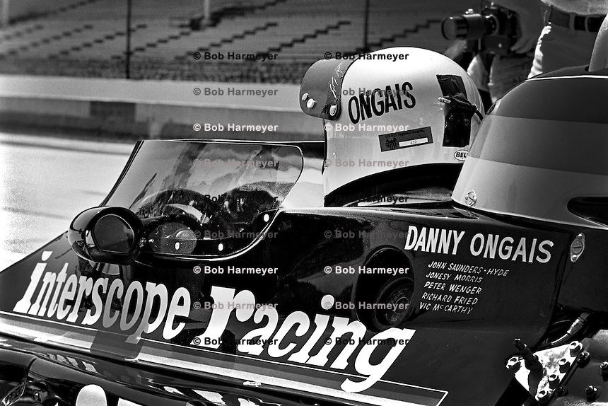 INDIANAPOLIS, IN - MAY 29: Danny Ongais waits to drive his Parnelli VPJ6B/Cosworth TC during practice for the Indianapolis 500 on May 29, 1977, at the Indianapolis Motor Speedway in Indianapolis, Indiana.