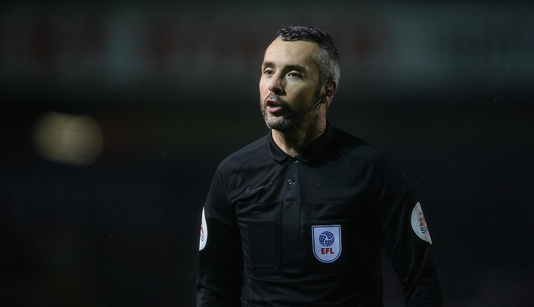 Referee Sebastian Stockbridge<br /> <br /> Photographer Chris Vaughan/CameraSport<br /> <br /> The EFL Sky Bet League Two - Saturday 15th December 2018 - Lincoln City v Morecambe - Sincil Bank - Lincoln<br /> <br /> World Copyright © 2018 CameraSport. All rights reserved. 43 Linden Ave. Countesthorpe. Leicester. England. LE8 5PG - Tel: +44 (0) 116 277 4147 - admin@camerasport.com - www.camerasport.com