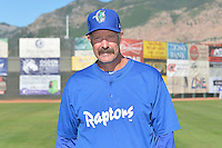 Ogden Raptors manager Jack McDowell (54) poses for a photo during media day on June 14, 2014 at Lindquist Field in Ogden, Utah. (Stephen Smith/Four Seam Images)